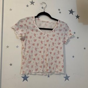 Pink and White Flower Top